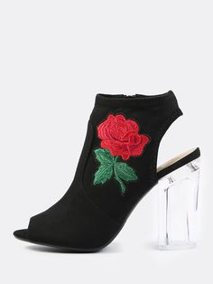 """Get on that on-going embroidery trend with the Embroidered Suede Peep Toe Heels. Features faux suede material with a rose embroidery, peep toe look and a side zip closure. Finished with a 4.25"""" inch clear heel. Show it off with a simple cami dress and dainty necklace. #monochrome #MakeMeChic #style #fashion #newarrivals"""