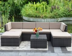 Amazon.com : 7 Piece Outdoor Wicker Sofa, Wisteria Lane Patio Furniture Set Garden Rattan Sofa Cushioned Seat with Coffee Table, Gray : Garden & Outdoor