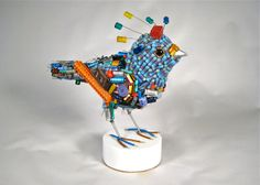 Blue Eyed Night Owl: Owl Things Considered - made entirely from recycled electronic components.