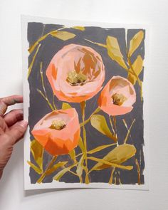 Lots of big girl business stuff on the to-do list today, so naturally I painted instead. Art Floral, Art And Illustration, Guache, Abstract Flowers, Art Design, Mellow Yellow, Botanical Art, Painting Inspiration, Collage Art