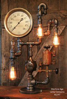 Steampunk Industrial Lamp, Steam Gauge and Oiler Gear #1247