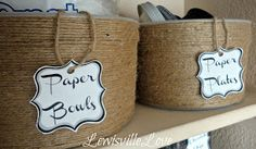 Lewisville Love: Jute Twine to Up-cycle from ice cream tubs to Organize Ice Cream Tubs, Pantry Organization, Organizing Labels, Pantry Storage, Organizing Tips, Craft Storage, Organising, Plastic Buckets, Plastic Containers