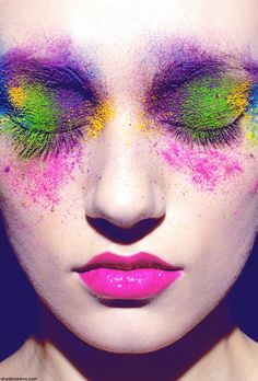 purple green pink yellow makeup look