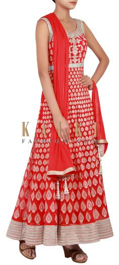 Buy Online from the link below. We ship worldwide (Free Shipping over US$100) http://www.kalkifashion.com/red-anarkali-suit-adorn-in-resham-and-mirror-embroidery-only-on-kalki.html