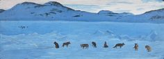 'Huskies Howling to be Free' by William Kurelek at Mayberry Fine Art  1968 mixed media
