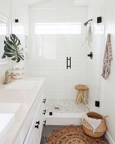 bohemian Bathroom Decor Where Bohemian Meets Moder - bathroomdecor All White Bathroom, Small Bathroom, Bathroom Ideas, Neutral Bathroom, Bathroom Inspo, Bathroom Canvas, Warm Bathroom, Bathroom Beadboard, Bathroom Rugs