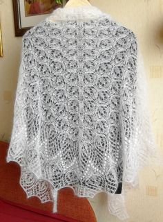 Hand knitted lace kid mohair shawl wrap ecru by ChristinaKnitting