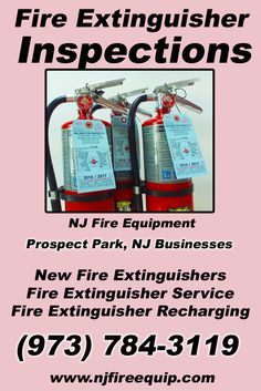 Fire Extinguisher Inspections Prospect Park, NJ (973) 784-3119 Local New Jersey Businesses Discover the Complete Fire Protection Source.  We're NJ Fire Equipment.. Call us today!