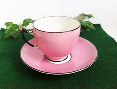 Porcelain Tea Cup and Saucer, Pink Tea Cup, Pink Black and White, Vintage England Bone China, Signed Paragon, Tea Set, Collectible by PrettyShinyThings4U on Etsy https://www.etsy.com/listing/226935832/porcelain-tea-cup-and-saucer-pink-tea