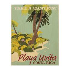 Playa Uvita, Costa rica beach travel poster/ Wood Print