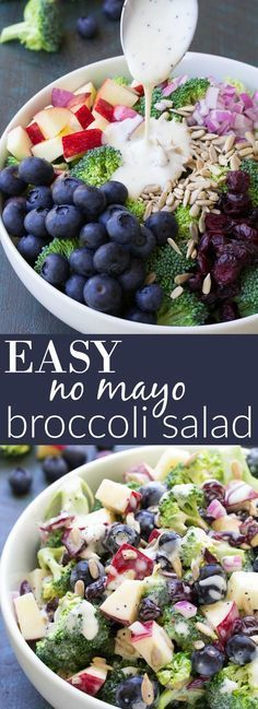 """Best Ever No Mayo Broccoli Salad with Blueberries and Apple! This healthy and easy side dish has a creamy poppy seed dressing, cranberries, and sunflower seeds. It will be the hit of your summer BBQ or 4th of July party! <a href=""""http://kristineskitchenblog.com"""" rel=""""nofollow"""" target=""""_blank"""">kristineskitchenb...</a>"""