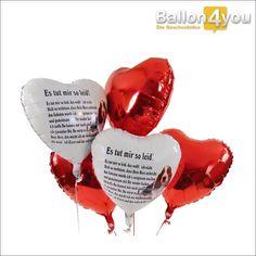 """Dieses Ballonbukett ist die ideale Widergutmachung, sogar wenn Sie in ein größeres """"Fettnäpfchen"""" getreten sind. Um die richtigen Worte zu finden, haben wir ein passendes Gedicht vorbereitet. Drei Herzballons unterstreichen Ihre Entschuldigung, so dass der gemeinsamen Versöhnung nichts mehr im Weg steht."""