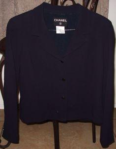 Chanel Black 100% Vintage Silk Jacket Chanel Paris Logo Buttons Women's Size 44