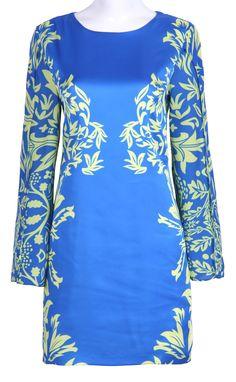 #SheInside Blue Half Sleeve Zipper Floral Straight Dress - Sheinside.com