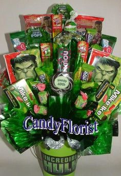 Hulk AVENGERS or  MARVEL Candy Bouquet Centerpiece by CandyFlorist