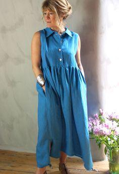 Sleeveless Shirt Dress in linen £255.