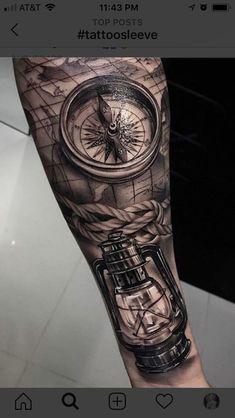 Forarm Tattoos, Forearm Sleeve Tattoos, Map Tattoos, Best Sleeve Tattoos, Tattoo Sleeve Designs, Tattoo Designs Men, Body Art Tattoos, Sextant Tattoo, Nautical Tattoo Sleeve