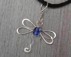 Dragonfly Necklace With Blue Sapphire Glass Bead - Sterling Silver Wire Pendant - Dragonfly Jewelry
