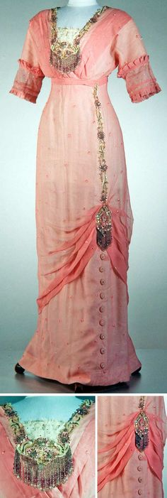 1914 Evening dress, France: pink silk/net with sequins and trimmed with clusters of glass beads (a later addition). Via Powerhouse Museum, Sydney.