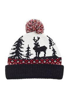 Reindeer Graphic Pom Beanie | Forever 21 #foreverfamily