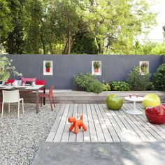 outdoor family play space - love the grays