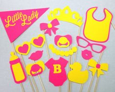15-Piece Little Lady Set - Baby Shower Photobooth Props - Baby Shower Photo Booth Props - Little Lady Party - It's a Girl Photo Booth