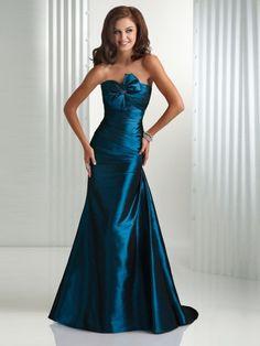 2011 Style Trumpet / Mermaid Strapless Sleeveless Floor-length Taffeta  Bridesmaid / Evening Dresses / Prom Dresses