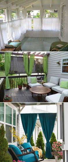Add privacy to your porch with panels of outdoor curtain. #outdoorcurtain #porchprivacy