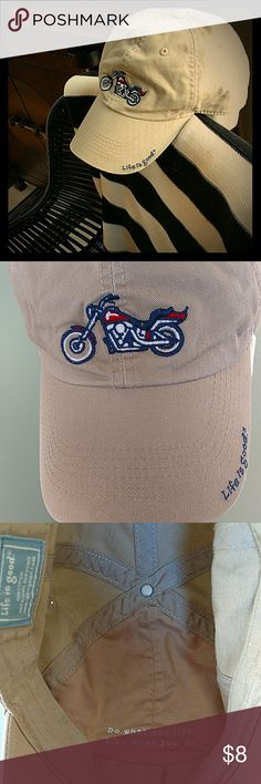 """Life is Good """"Motorcycle"""" Baseball Cap Life is Good Authentic.  Beige """"Moto"""" cap... Because you should do what you like and like what you do...  EUC🏍️  Hidden and fully adjustable adult, unisex cap. Life Is Good Other"""