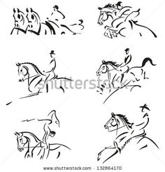 Equestrian  Simplified silhouettes of competitive equestrian sports: combined driving, show jumping, dressage, eventing (military), equestri...