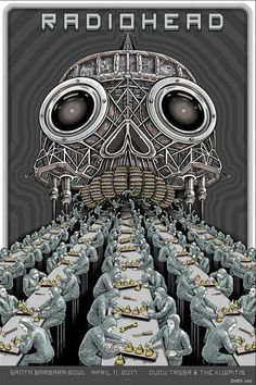 Radiohead Golden Pyramids Santa Barbara CA VIP Poster Screen Print by Emek Radiohead Poster, Radiohead Albums, System Of A Down, Tour Posters, Band Posters, Cinema Posters, Art Hippie, Festival Posters, Films