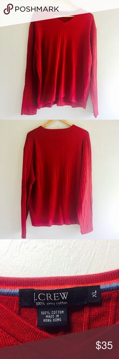 J Crew Red 100% Pima Cotton V-Neck Ribbed Sweater J Crew Red 100% Pima Cotton V-Neck Ribbed Sweater  Mens Size Extra Large XL Preowned good condition J. Crew Sweaters V-Neck