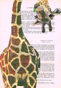 Giraffe Drawing Illustration Digital Print Mixed Media  Art Poster Acrylic Painting Holiday Decor Drawing Gifts: Giraffe with green leaf
