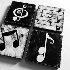 Musik inspiriert schwarze und weiße von WhimsicalArtBlocks auf Etsy