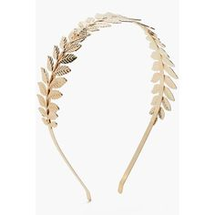 Boohoo Kerry Grecian Leaf Metal Headband ($10) ❤ liked on Polyvore featuring accessories, hair accessories, leaf hair accessories, flower crown, metal leaf headband, glitter leaf garland and flower crown headband