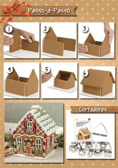 Christmas Cookie House Tutorial More Christmas Makes, Christmas Scenes . - Tutorial Christmas Cookie House More Christmas Makes, Christmas Scenes, Christmas Goodies, Christma - Cardboard Gingerbread House, Gingerbread House Designs, Christmas Gingerbread House, Gingerbread Houses, Gingerbread House Template, Christmas Scenes, Christmas Makes, Simple Christmas, Christmas Christmas
