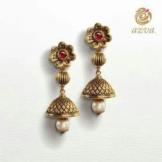 Which outfit would these earrings complement perfectly? 1 Gram Gold Jewellery, Gold Jewellery Design, Temple Jewellery, Designer Jewellery, Gold Jewelry, Jewelry Rings, Gold Necklace, Antique Earrings, Antique Jewelry