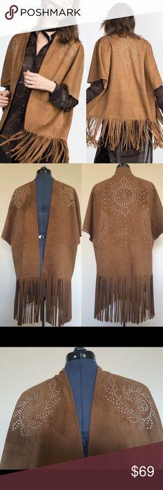 ZARA Kimono Camel Suede with Fringing & Studs ZARA Kimono Camel Suede with Fringing & Studs. Sz M. New never worn. Zara Jackets & Coats Capes