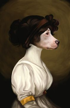 would love portraits like this of every dog i've ever had with ornate frames like they're the royal family