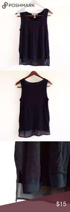 SHIPS AFTER 6/24 • black chiffon trim tank offers welcome size XS black tank with chiffon trim. can also fit a small. •790098•  instagram: @xomandysue Forever 21 Tops Tank Tops