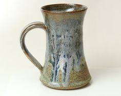 Mug Ceramic Specked Stoneware Blue and Green by PrimitivePots, $25.00