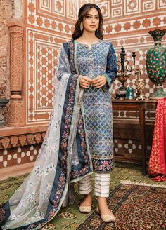 Buy Qalamkar Noor e Chasham Luxury Festive Collection 2019 Embroidered Lawn Unstitched 3 Piece Suit from Sanaulla Store - Original Products. Pakistani Fashion Casual, Pakistani Dresses Casual, Pakistani Dress Design, Indian Fashion, Women's Fashion, Pakistani Clothing, Fashion Dresses, Bollywood Fashion, Pakistani Suits Online