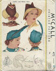 Vintage McCall's 473 Printed Sewing Pattern Ladies' and Misses' Hats (1937) by lavenderskye on Etsy