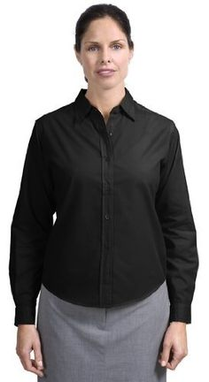 Port Authority Ladies Long Sleeve Easy Care Soil Resistant Shirt. L607 XXL Black by Sanmar. $29.43. A carefree work shirt you'll actually enjoy wearing. The wrinkle resistant fabric keeps you looking sharp while the soil release treatment protects you from stains. All thisat a tremendous value!.. 3.7 ounce 60/40 cotton/poly with soil release finish. Traditional relaxed look. Open collar. Dyed to match buttons. Button through sleeve plackets. Adjustable cuffs. Ple...