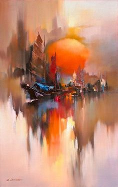 Reflection of the sails - image - Moderne Kunst - Bilder Abstract Landscape, Landscape Paintings, Abstract Art, Abstract Painting Techniques, Summer Landscape, Oil Painting Abstract, Nature Posters, Beginner Painting, Painting Inspiration