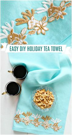Looking for easy DIY Christmas crafts, Christmas sewing projects, and DIY Christmas decor ideas? Check out this DIY Christmas tea towel - you can make this a NO-SEW or a little-sew project! I'll show you how! Make your own holiday tea towels as DIY handmade gifts. Christmas sewing projects gift idea! Click through for more handmade gift ideas for the holidays and other Christmas sewing crafts. #christmassewing #christmascraft #christmasdecor #diychristmas Christmas Sewing Projects, Diy Sewing Projects, Sewing Crafts, Christmas Tea, Modern Christmas, Christmas Decor, Diy Ideas, Craft Ideas, Decor Ideas