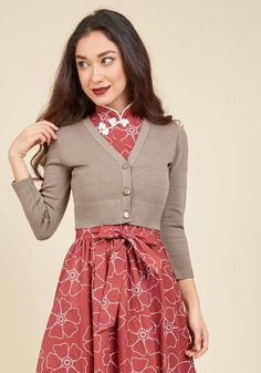 #ModCloth - #J6072 Before you head out to meet your bestie for a light lunch, button into this cropped cardigan. With its mocha hue, 3/4-length sleeves, and ribbed accents, this ModCloth-exclusive cardi takes care to dress you in your best for brunch, and wherever else the - AdoreWe.com