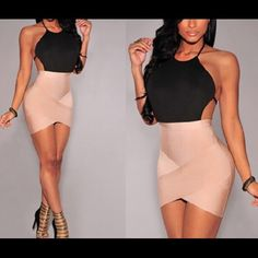 Beautiful Bodycon Party Minidress. Beautiful Bodycon Party Minidress. Sexy, Bandage, Backless, Two-Toned Apricot and Black Dress. New and Never Worn. Size US Medium 8-10 (Asian Size -L). Dresses Mini