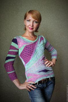 """Купить Авторский пуловер """"Ягодно - мятный микс"""". - абстрактный, авторский трикотаж, пуловер вязаный"""