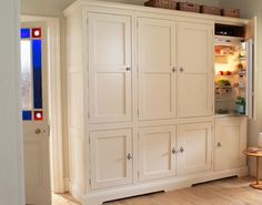 Larder cupboards with integrated refrigeration. Perfect for the kitchen, craft room, and even the guest room & master suit. Kitchen Larder, Larder Cupboard, Kitchen Cabinetry, New Kitchen, Modern Farmhouse Kitchens, Rustic Kitchen, Home Kitchens, Dream Kitchens, New House Plans